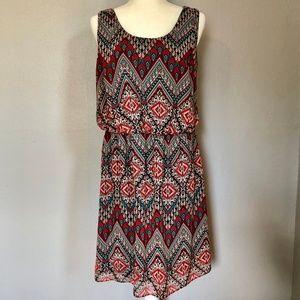 AGB Aztec Geometric Scoop Neck Tank Dress Plus